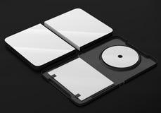 Maqueta CD de la caja plástica del disco del DVD Opinión de perspectiva Fotos de archivo libres de regalías