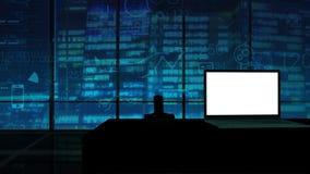 Maqueta corporativa del ordenador portátil con Alpha Channel metrajes
