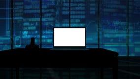 Maqueta corporativa del ordenador portátil con Alpha Channel almacen de metraje de vídeo