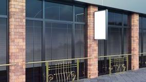 Maqueta de acero en la cartelera en blanco vertical de la calle de la ciudad para la demostración del diseño 3d rendir fotos de archivo libres de regalías