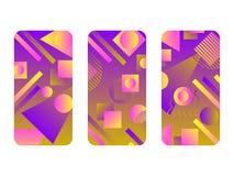 Maqueta de la caja del teléfono Memphis Pattern Background Estilo geométrico de la forma de las pendientes de los años 80 Casos d stock de ilustración