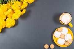 Maqueta de la comida Placa amarilla brillante con las galletas y el blanco de los dulces Foto de archivo