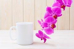 Maqueta de la taza del café con leche con la orquídea rosada Foto de archivo libre de regalías