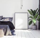 Maqueta de los carteles en nuevo dormitorio escandinavo del boho fotos de archivo libres de regalías