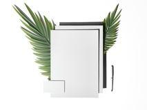 Maqueta de marcado en caliente blanca con la hoja de palma representación 3d Libre Illustration