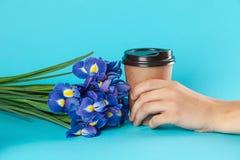Maqueta de papel para llevar de la taza de café aislada en fondo azul fotografía de archivo
