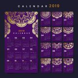 Maqueta del calendario de la mandala fotografía de archivo