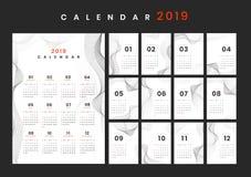 Maqueta del calendario del diseño del contorno fotografía de archivo libre de regalías