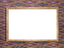 Maqueta del cartel del marco de madera en la materia textil Foto de archivo libre de regalías