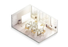 Maqueta del diseño interior de la oficina dentro, visión isométrica fotos de archivo