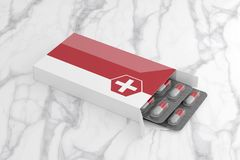 Maqueta del empaquetado farmacéutico - representación 3d ilustración del vector