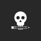 Maqueta del logotipo del lápiz y del cráneo del estudio del diseño o de la sala del tatuaje Imagen de archivo