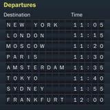 Maqueta del marcador de los vuelos con las ciudades Foto de archivo libre de regalías