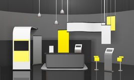 Maqueta del soporte 3D de la exposición de la publicidad Imagen de archivo
