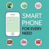 Maqueta del teléfono con la ubicación Pin Icon, icono de la cámara, icono Vect de la charla Foto de archivo