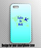 Maqueta elegante del caso del iPhone con la impresión del diseñador libre illustration