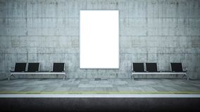 maqueta en blanco de la cartelera en la estación del metro stock de ilustración