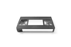 Maqueta en blanco de la cinta de cinta de video con las etiquetas engomadas blancas, aisladas Fotografía de archivo
