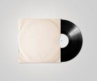 Maqueta en blanco de la manga de la cubierta del álbum del vinilo, trayectoria de recortes Imagenes de archivo