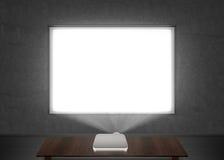 Maqueta en blanco de la pantalla de proyector en la pared Fotografía de archivo