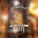 Maqueta fresca caliente del escaparate del coffe Fotos de archivo