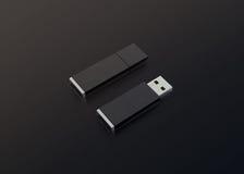Maqueta negra en blanco del diseño de memoria USB, representación 3d, abierta y cerrada Fotografía de archivo