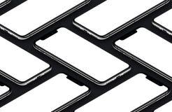 Maqueta negra isométrica de las partes delanteras de los smartphones de la perspectiva Foto de archivo libre de regalías