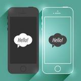 Maqueta plana de Smartphone del dispositivo móvil del iPhone Teléfono móvil moderno aislado Diseño del ejemplo del concepto del v ilustración del vector
