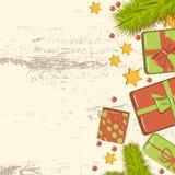 Maqueta puesta plana de la Navidad con las ramas del abeto, cajas de regalo brillantes con el arco, gotas y estrellas en fondo de stock de ilustración