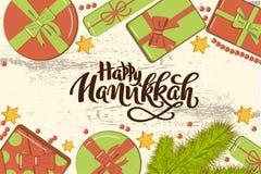 Maqueta puesta plana de la Navidad con las ramas del abeto, cajas de regalo brillantes con el arco, gotas y estrellas en fondo de