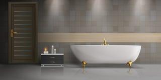 Maqueta realista del vector del diseño interior del cuarto de baño ilustración del vector