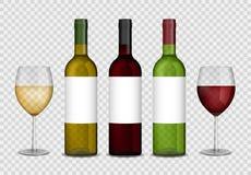 Maqueta transparente de las botellas y de las copas de vino vino blanco rojo y en botella y vidrios Ilustración del vector Imagen de archivo