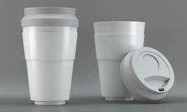 Maquetas de la taza del café con leche en fondo brillante Fotografía de archivo