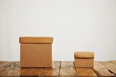 Maquetas de las cajas de cartón acanalado marrones en blanco imagen de archivo libre de regalías