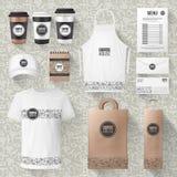 Maquetas de los artículos de la mercancía o del café del café del vector stock de ilustración