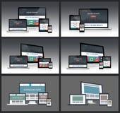 Maquetas responsivas de la pantalla Foto de archivo libre de regalías