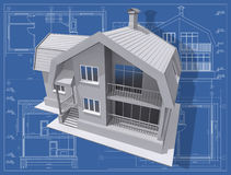Maquette. 3D isometric view of residential house on architect's drawing Stock Photography
