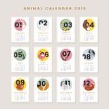 Maquette animale mignonne de calendrier illustration libre de droits