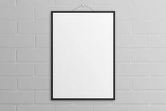 Maquette blanche d'affiche de l'illustration 3D avec le mur de briques noir de cadre illustration de vecteur
