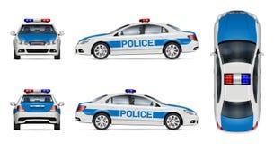 Maquette blanche de vecteur de voiture de police illustration stock