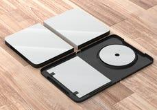 Maquette CD de boîte en plastique de disque de DVD Vue de point de vue Image stock
