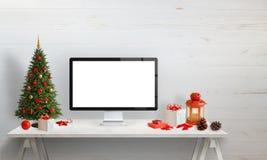 Maquette d'affichage d'ordinateur pour la présentation de site Web, ou salutation de Noël images stock