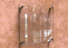 Maquette d'entreprise de plat de Signage de bureau intérieur en verre transparent vide, rendu 3d Moquerie de plaque d'identificat Images stock
