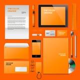 Maquette d'entreprise orange d'identification Photos stock