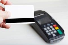 Maquette d'un terminal en plastique de carte et de paiement Photo libre de droits