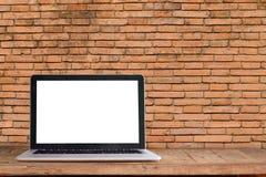 Maquette de bureau d'espace de travail, ordinateur portable Photo libre de droits