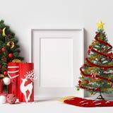 Maquette de cadre avec la décoration de Noël illustration libre de droits