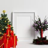Maquette de cadre avec la décoration de Noël illustration stock