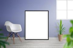 Maquette de cadre de tableau dans l'intérieur de salon Photo libre de droits