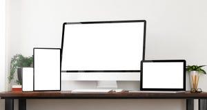 maquette de dispositifs de vue de face photographie stock